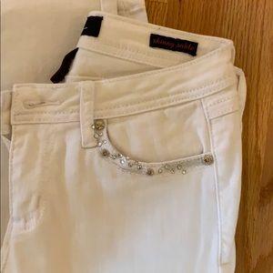 Rhinestone studded white jeans